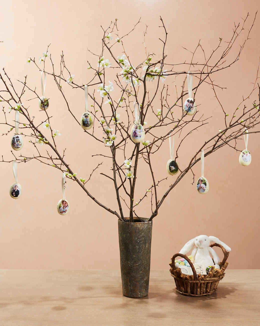 family easter egg ornaments hanging from floral branches