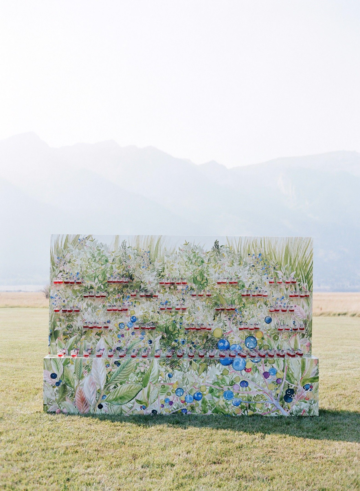 wedding drink station with painted greenery wall in field