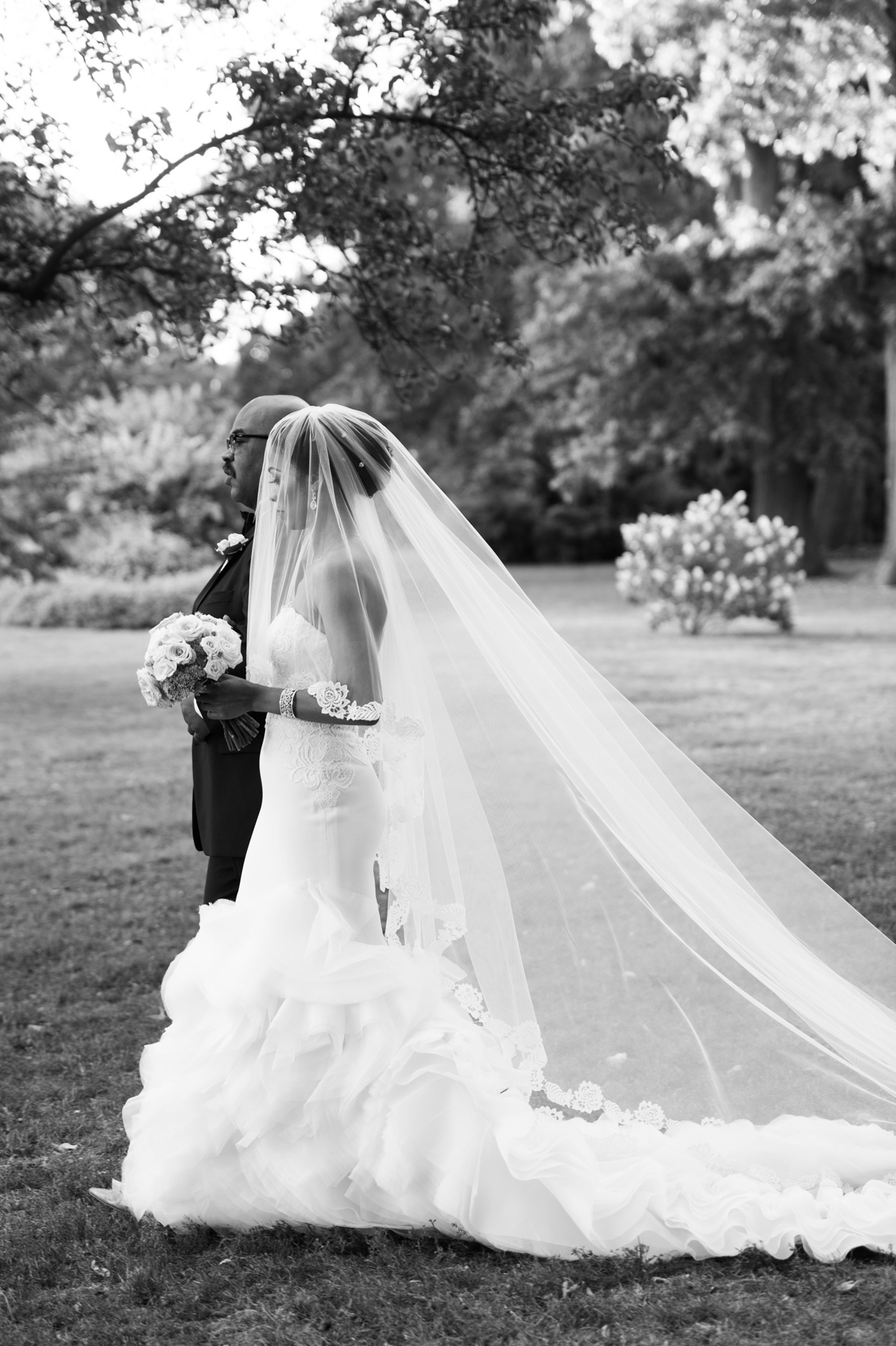 bride and father processing at outdoor wedding