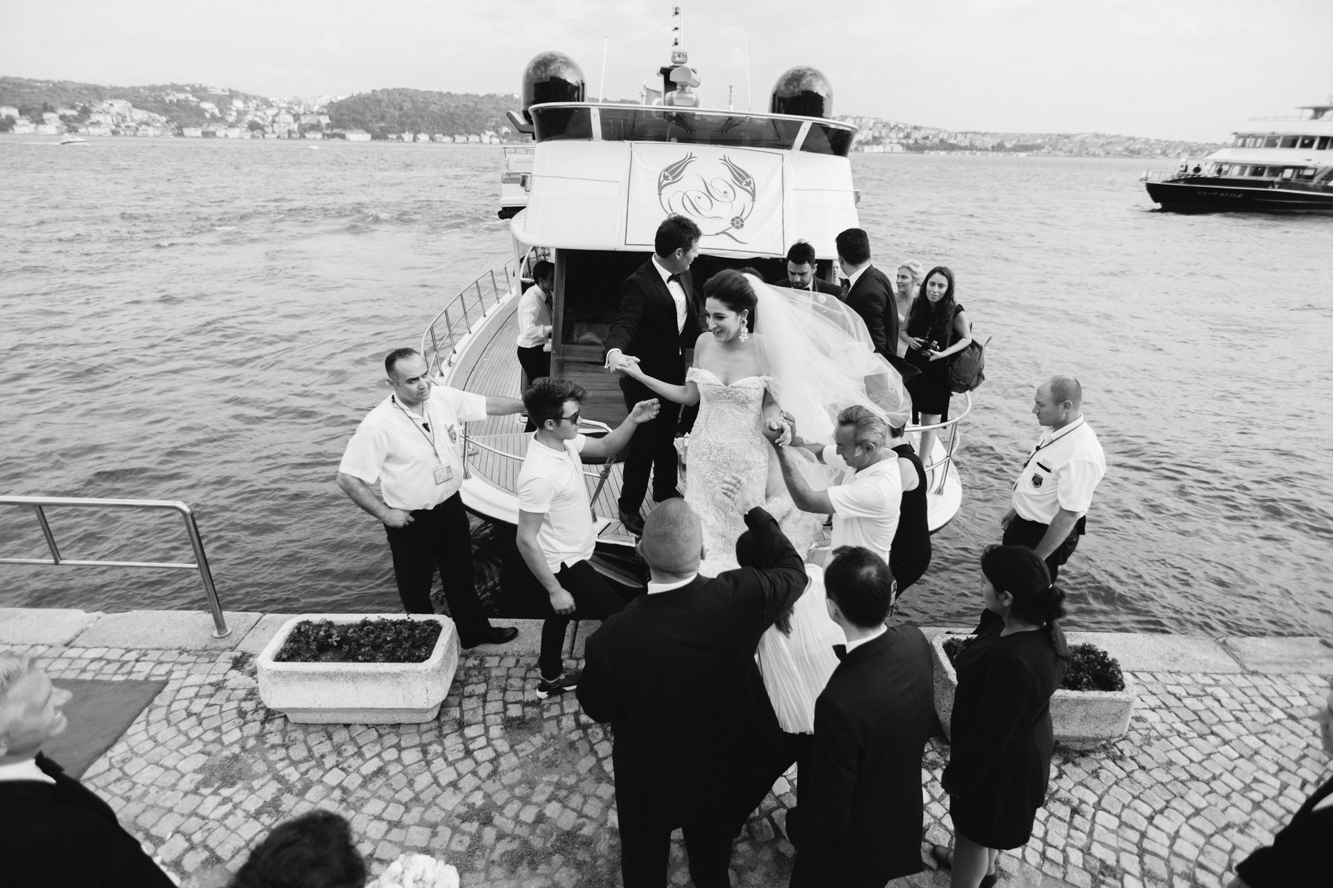 wedding party on small boat