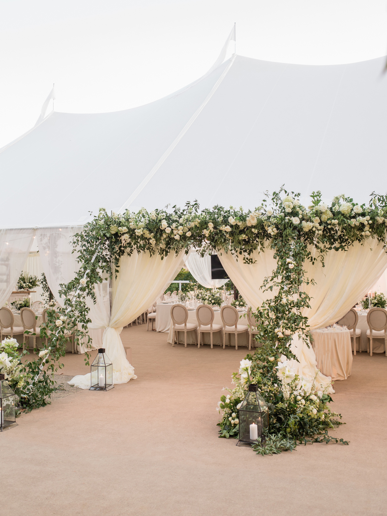 tented wedding reception in white