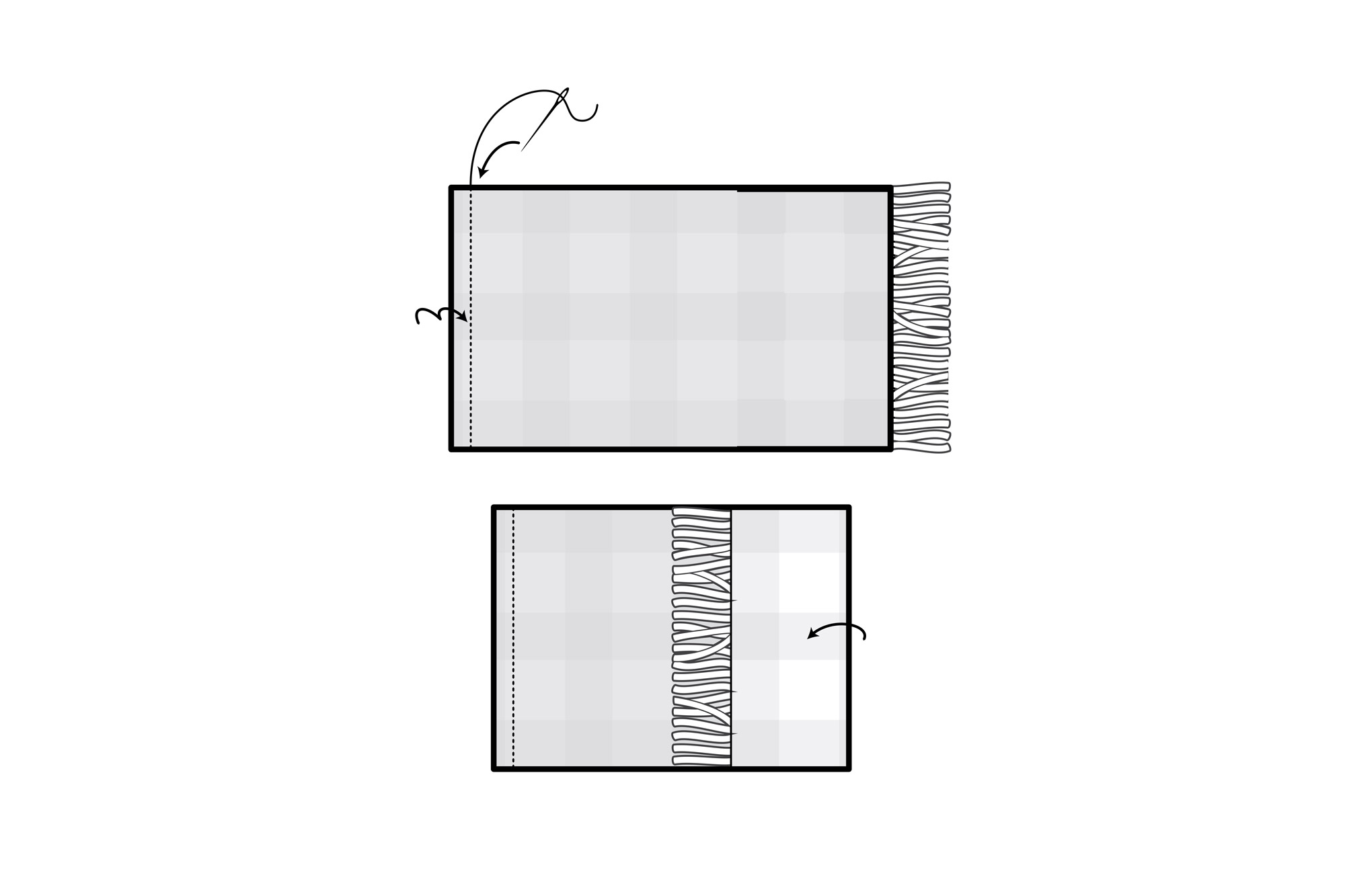 fabric flat and fabric folded illustration