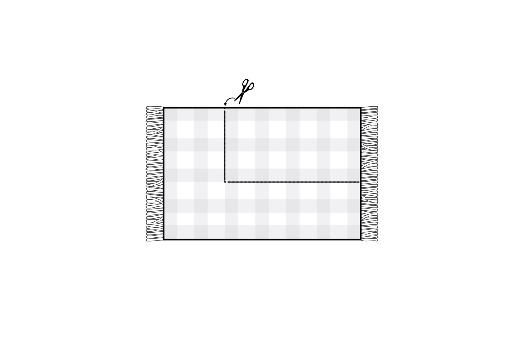 blanket flat with trim mark illustraton