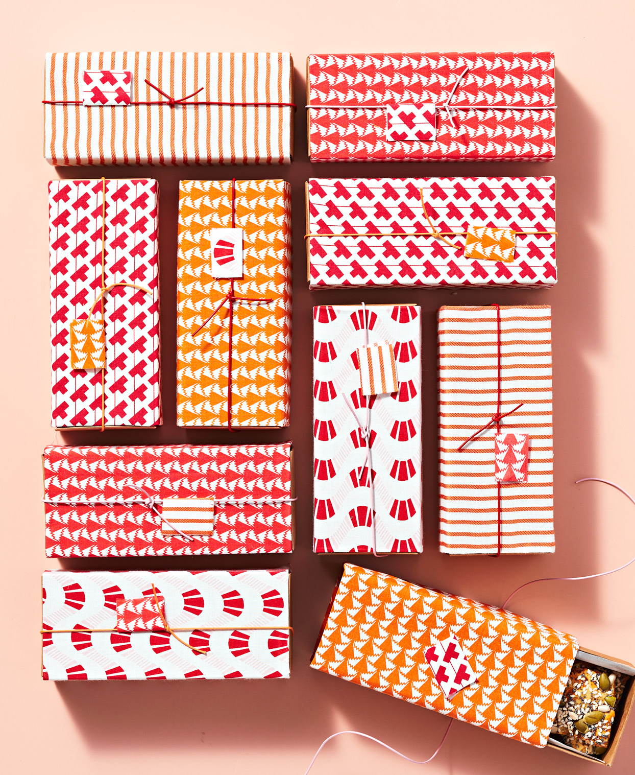 fabric wrapped treat boxes