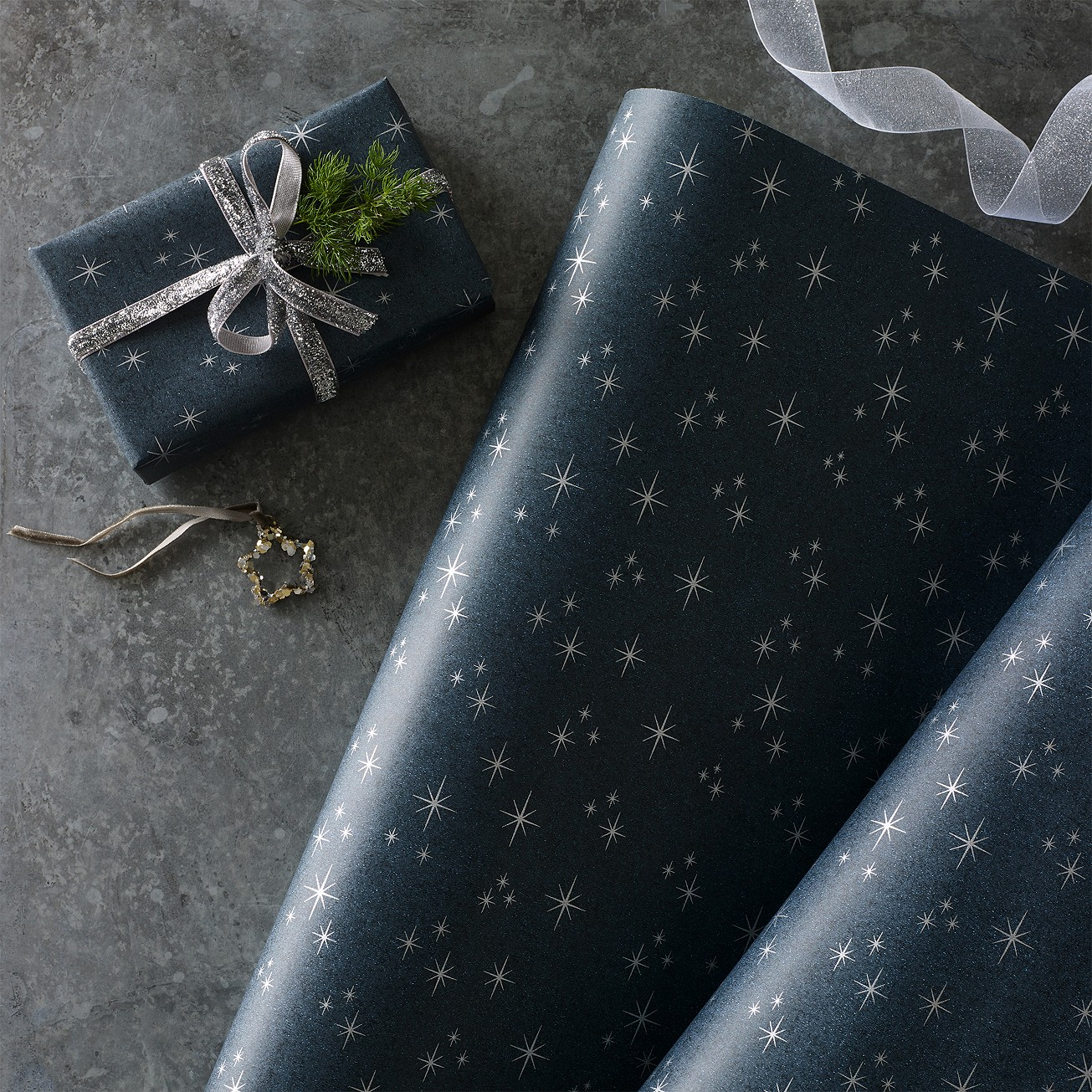 black starry night wrapping paper