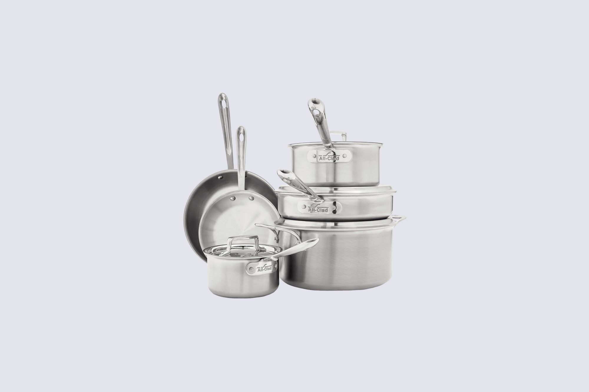 all clad d5 brushed stainless steel cookware set