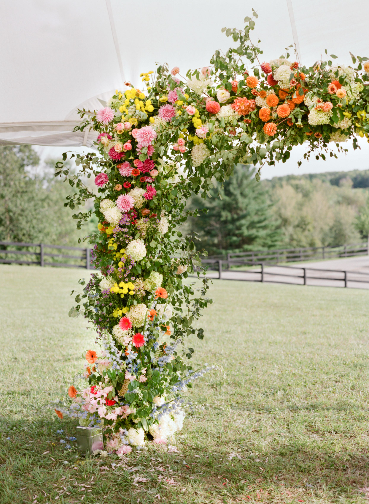 colorful floral wedding arch