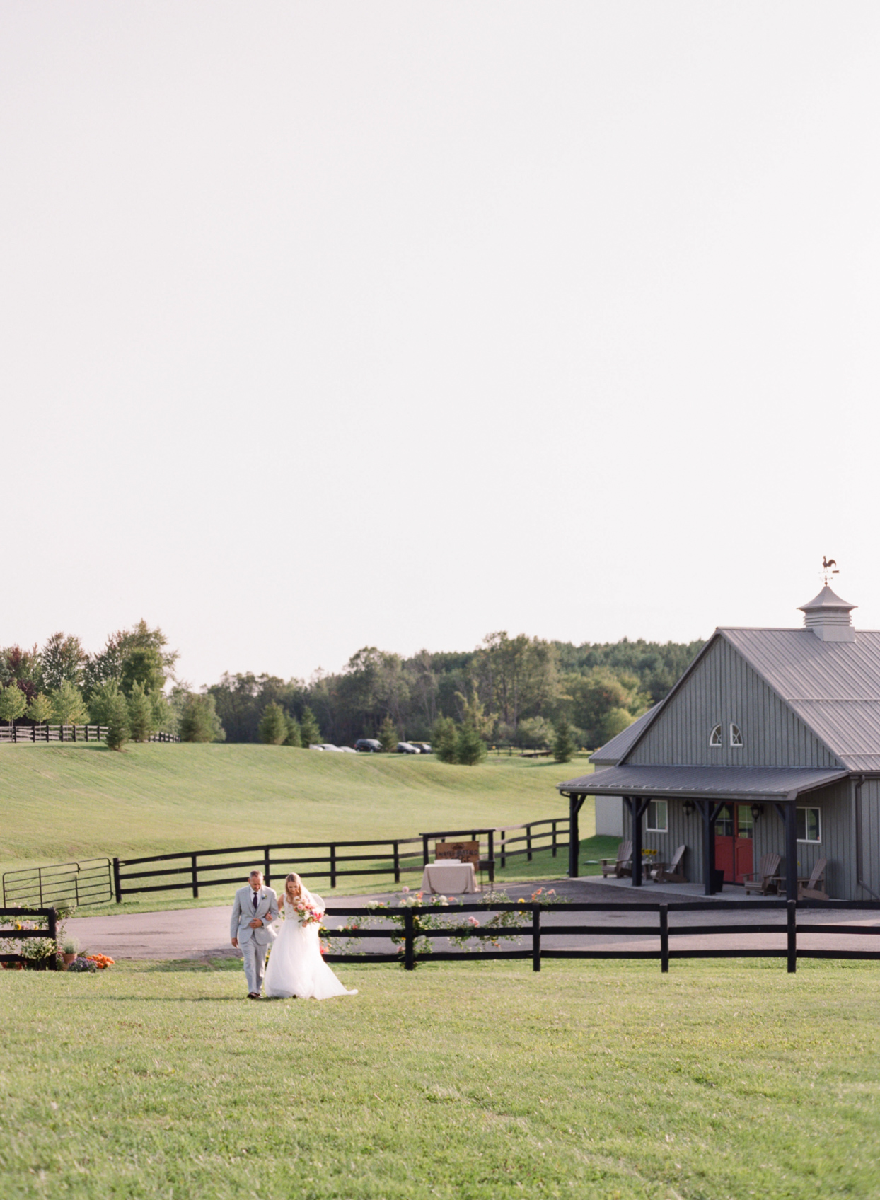 bride and father processing at outdoor farm wedding
