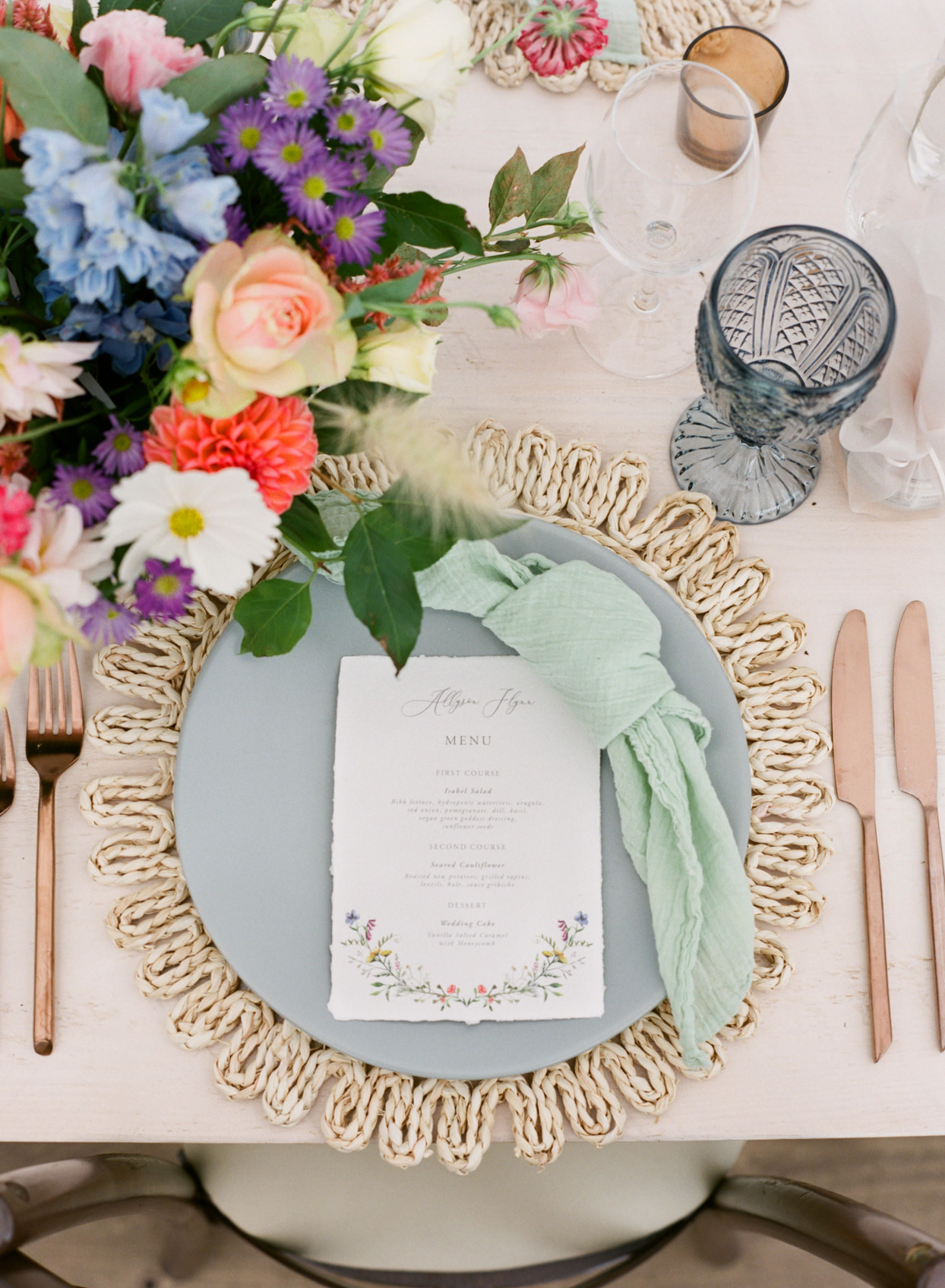 wicker placemats for colorful wedding tablescape