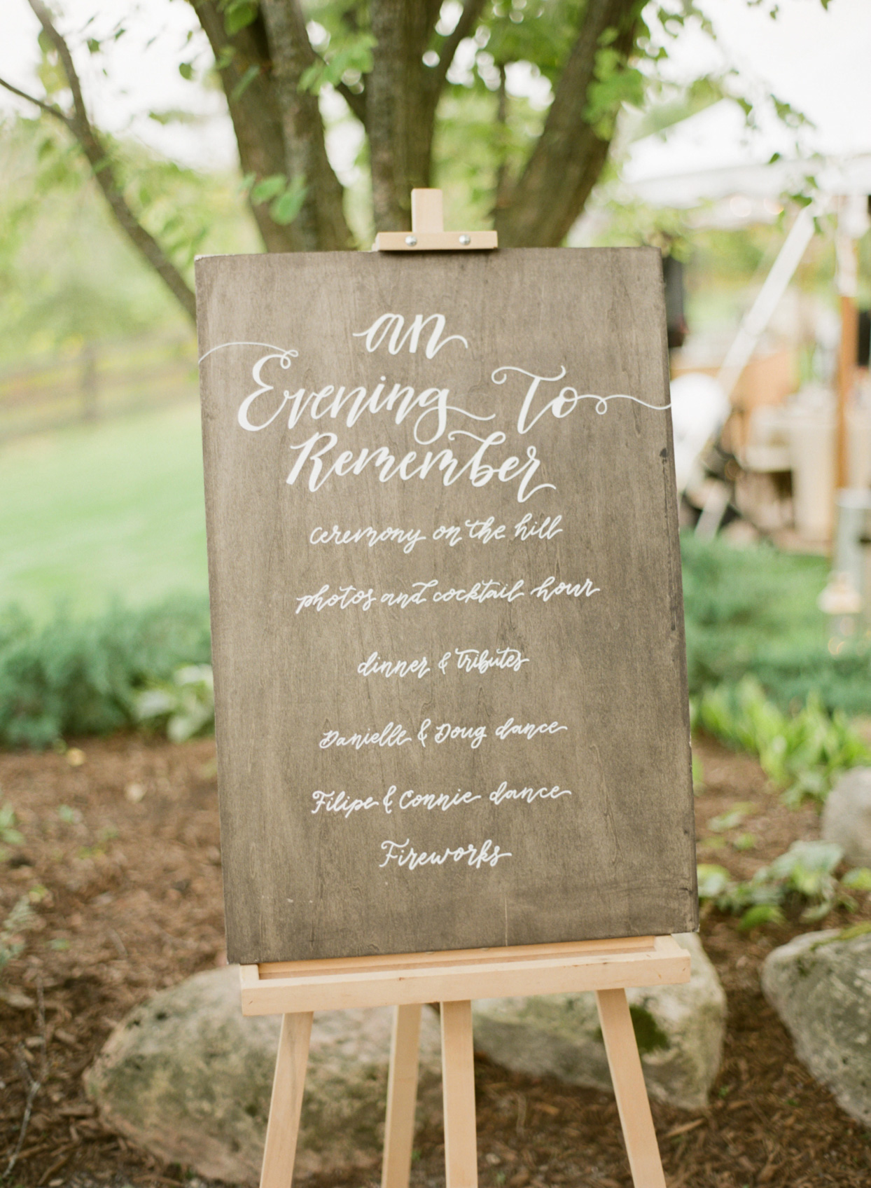 wooden wedding events sign