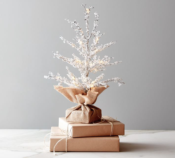 Pottery Barn Pre-Lit Snowy Crystal Tree, Brown with White Crystals