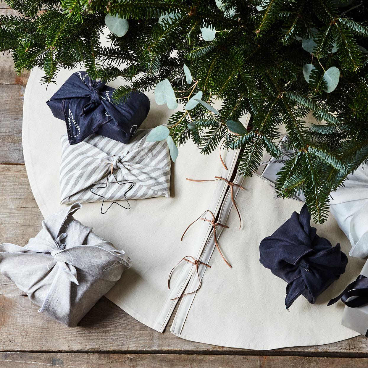 Food52 Canvas & Leather Tree Skirt with Personalization Option