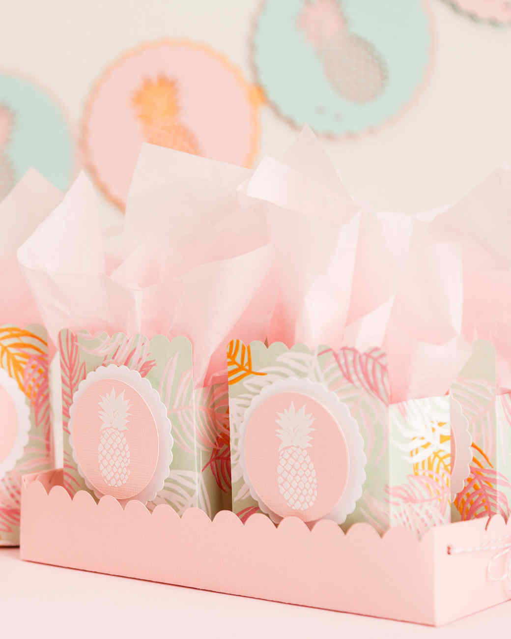 cricut pineapple party scalloped tray party favors