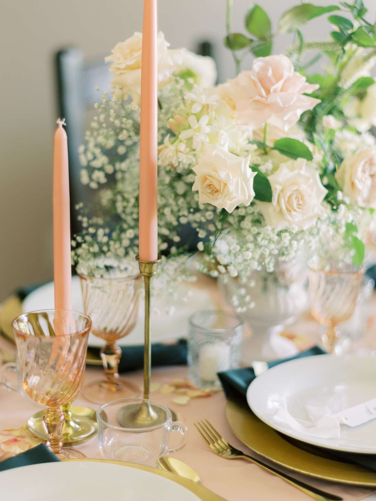 pink, white, and gold wedding table setting