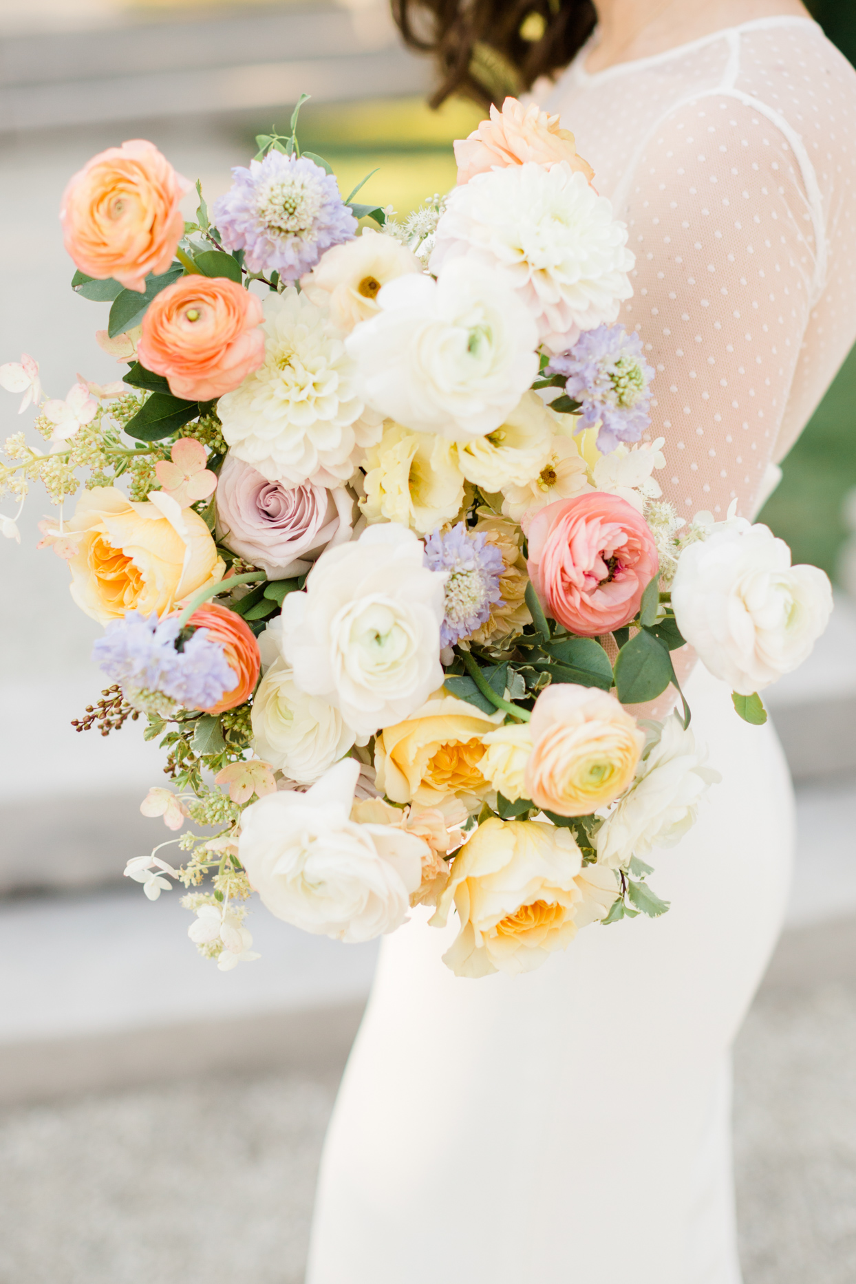 colorful pastel wedding bouquet