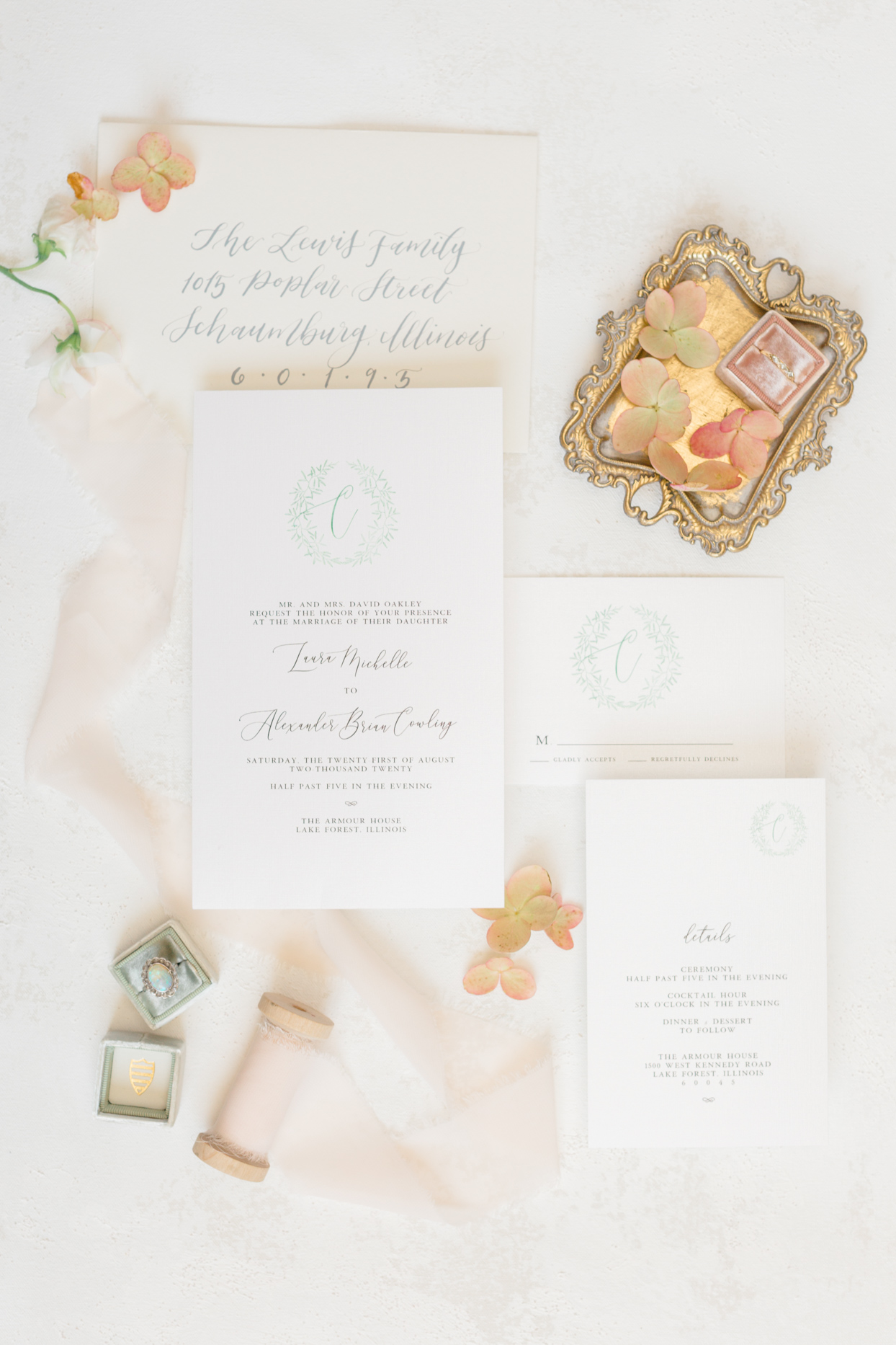 elegant white wedding invitations with gold accent pieces