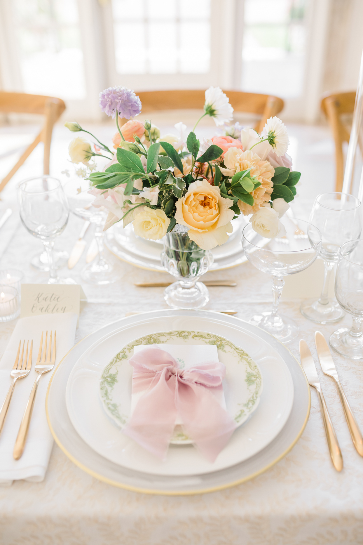 elegant pastel wedding place settings