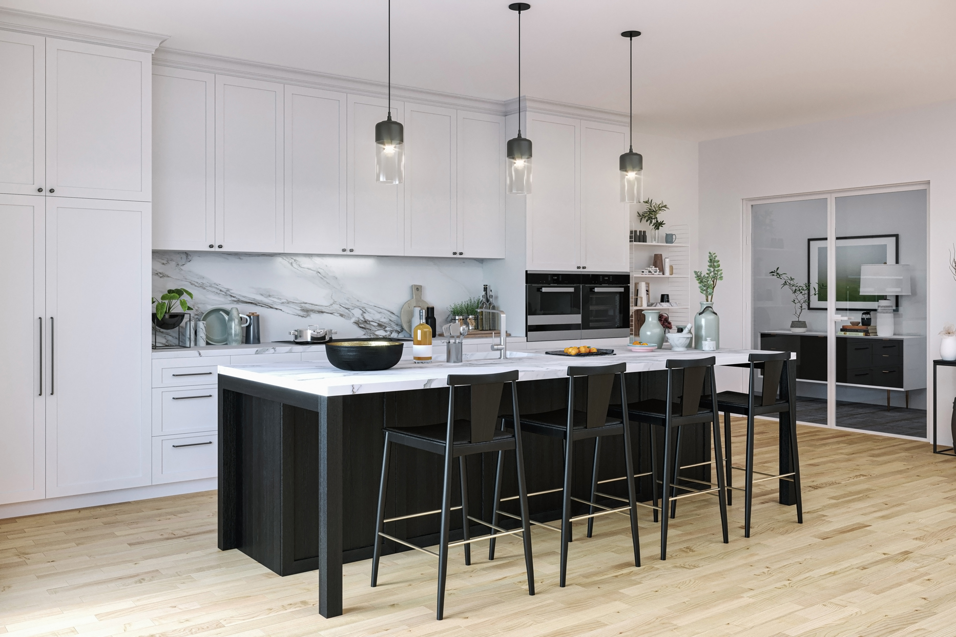 white floor to ceiling kitchen cabinets with white marble backsplash and island with black bar chairs