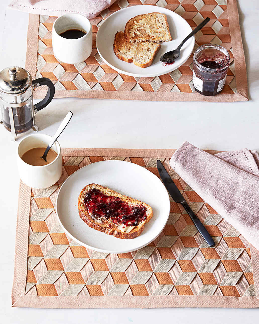 woven place mats on a table