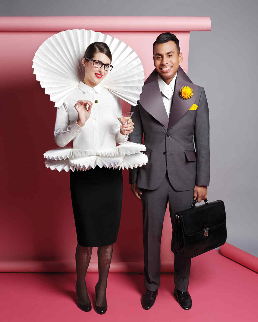 business attire with paper embellishments costumes