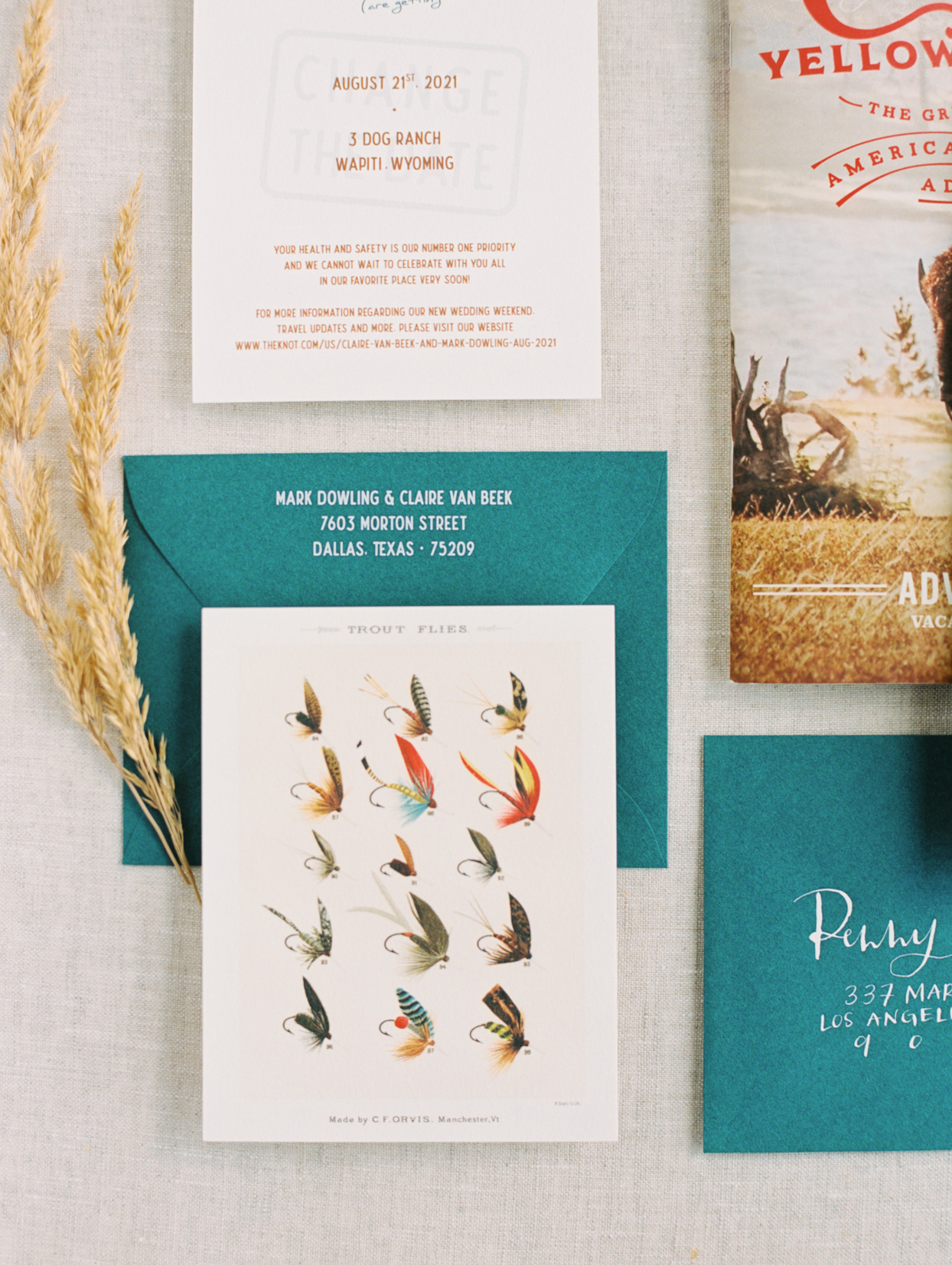 nature themed teal and orange wedding invitations