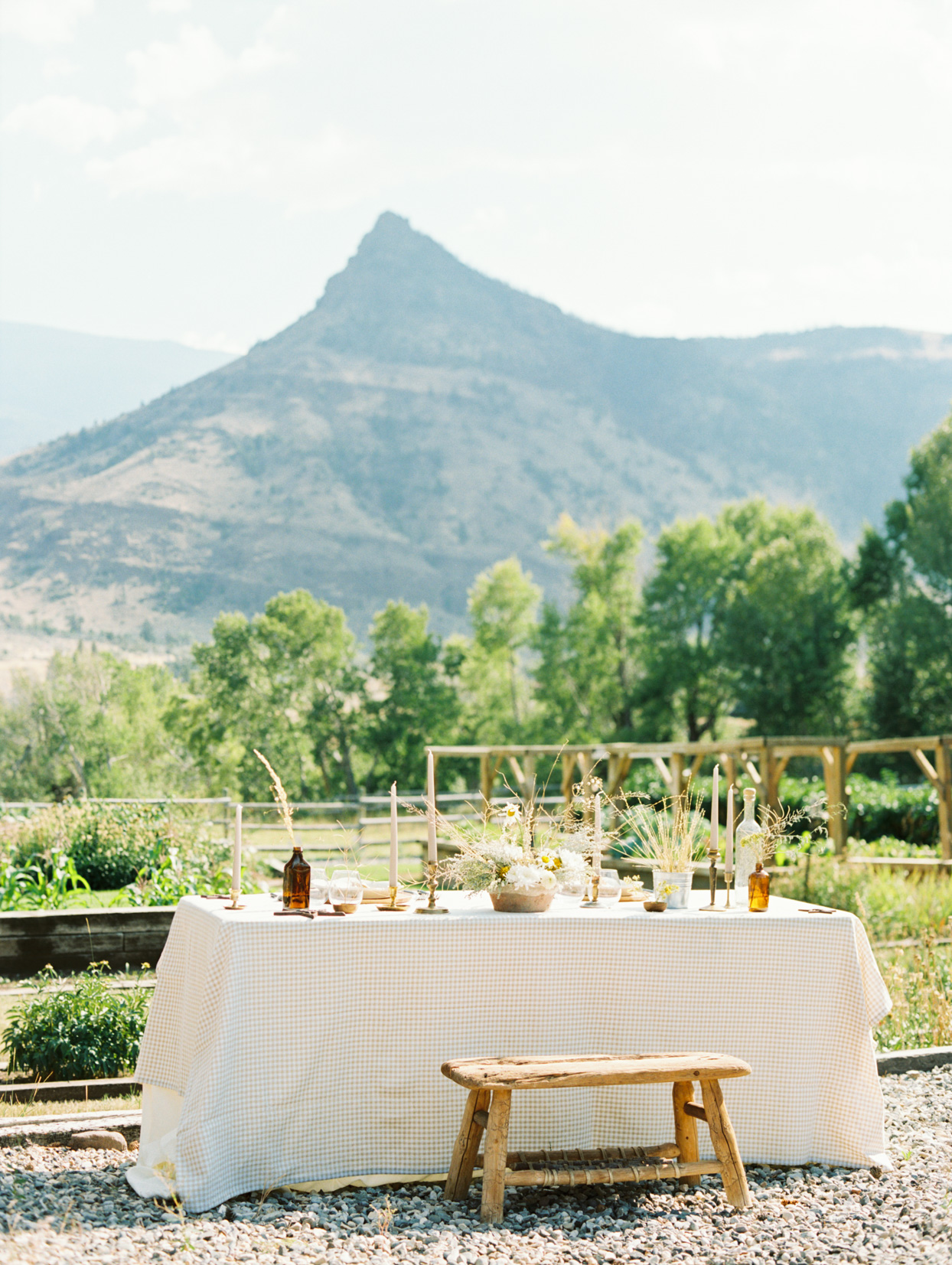 elegant rustic outdoor table with mountain view