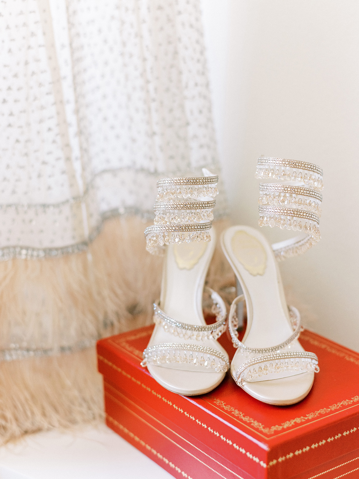 dangling crystal heeled sandals on red box
