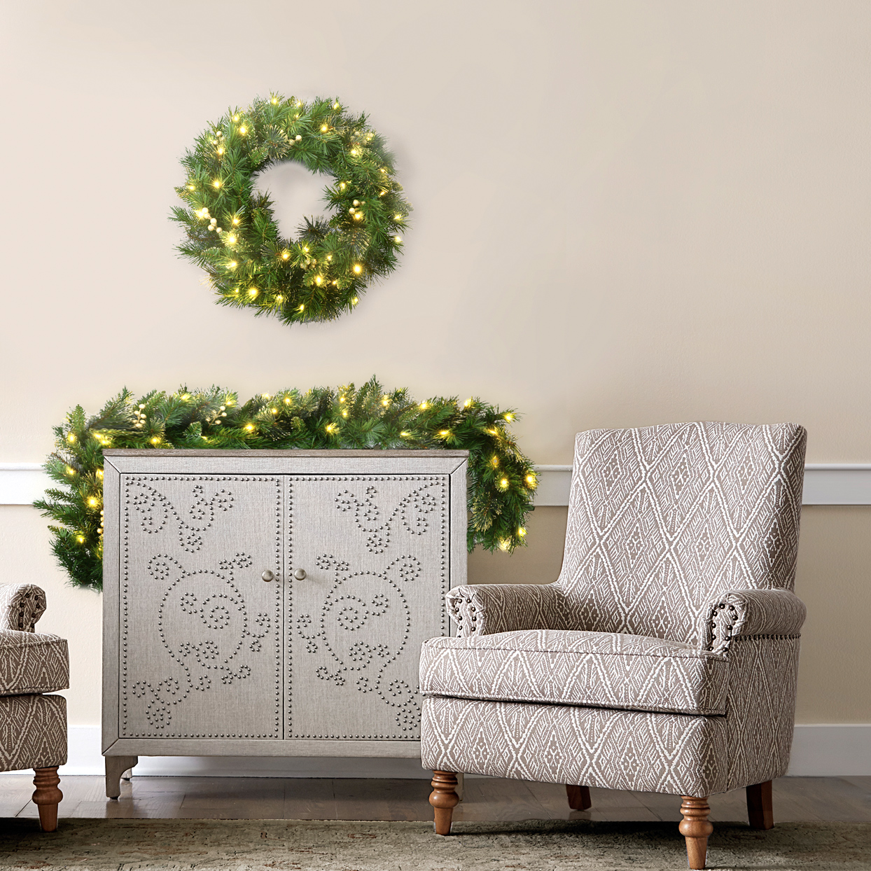classic spruce pre-lit garland with clear/ white lights