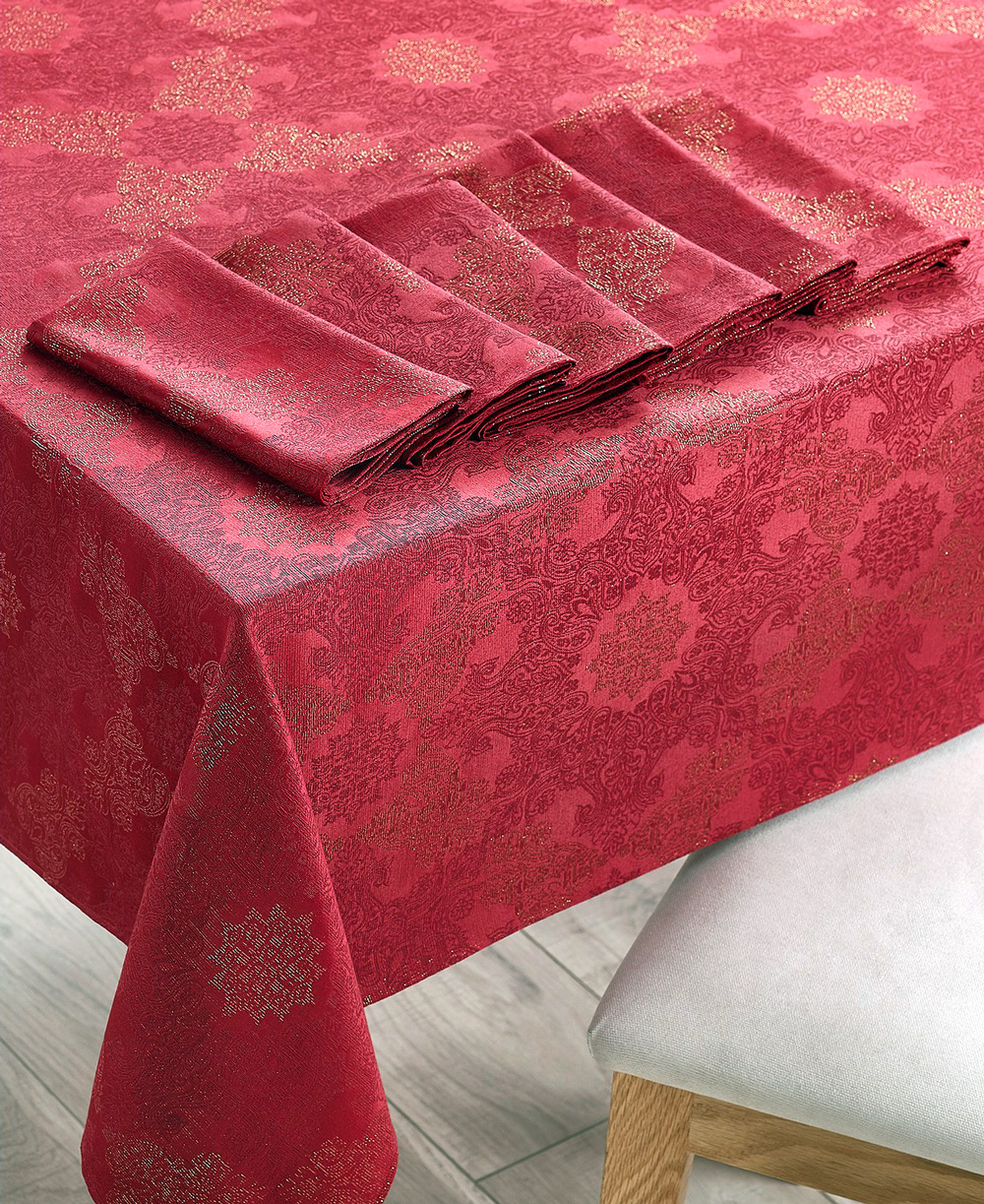 martha stewart collection holiday dining set with tablecloth and napkins
