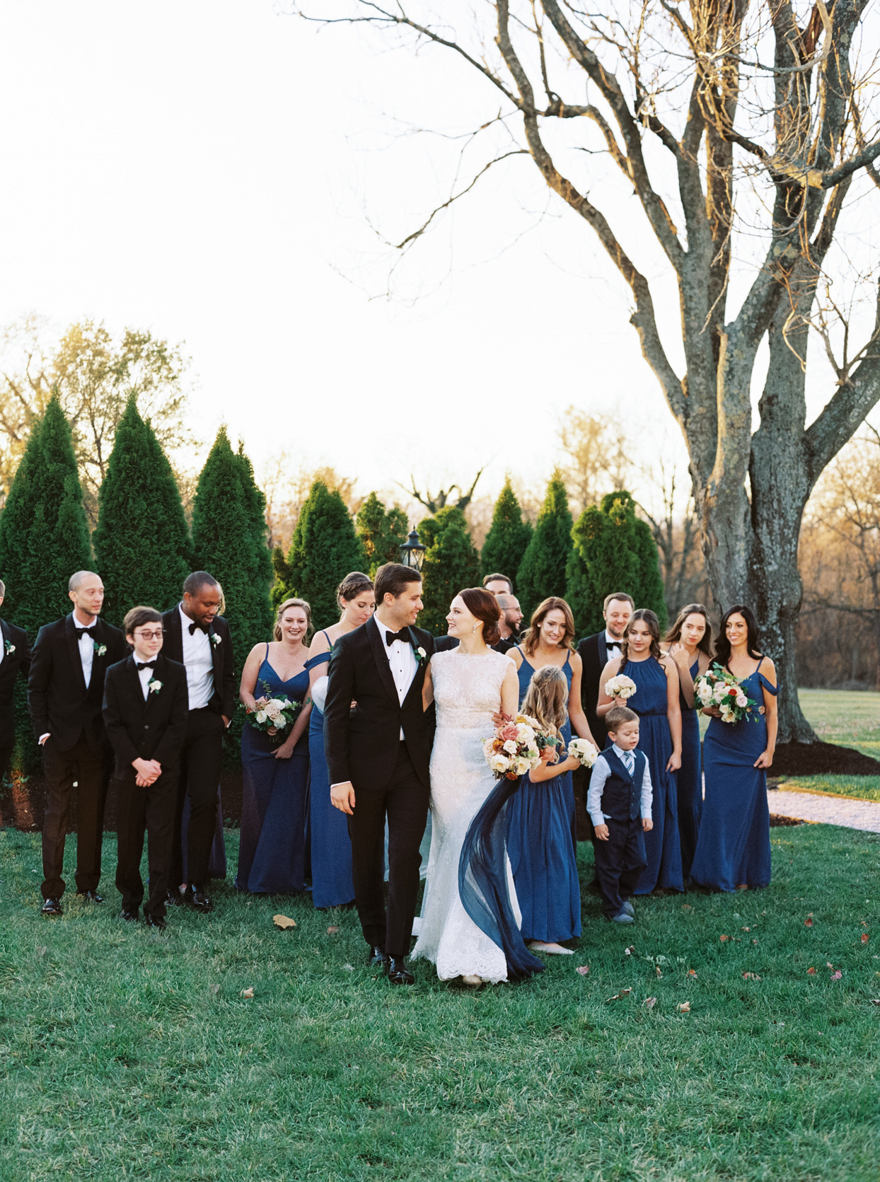 wedding bridal party in black and royal blue