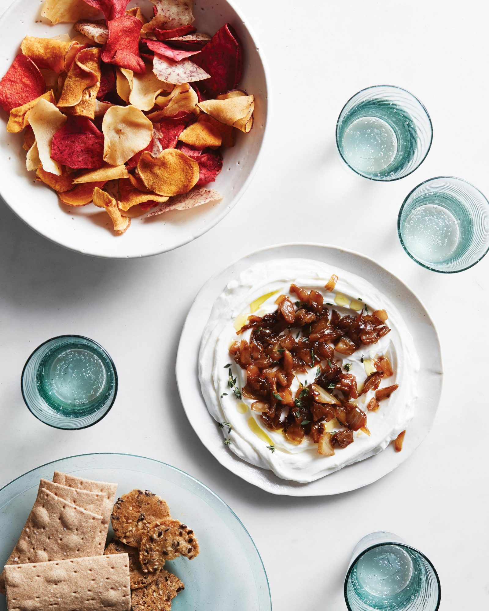 labneh dip with caramelized onions and fennel