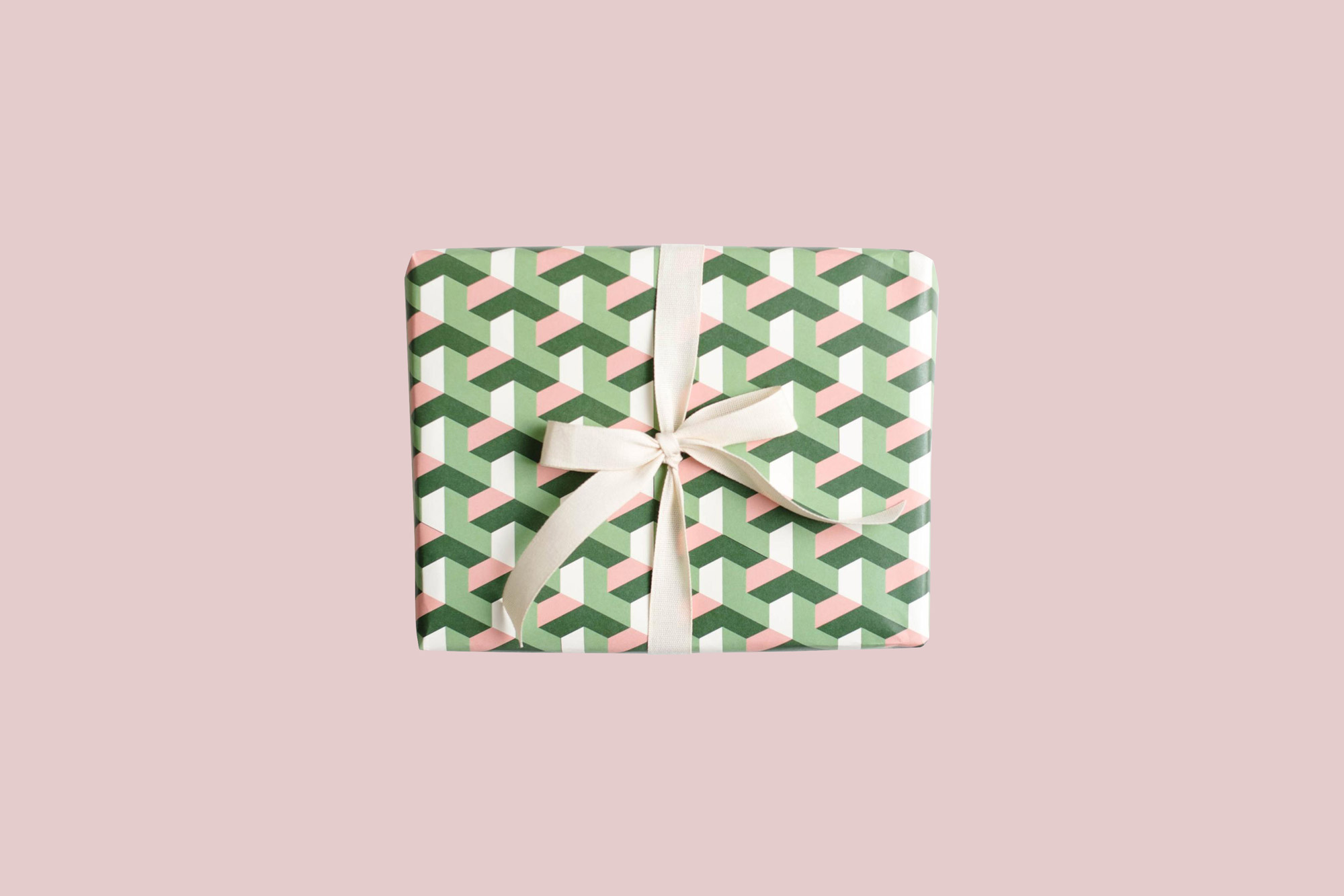present wrapped in Amy Heitman Geometric Tile Gift Wrap