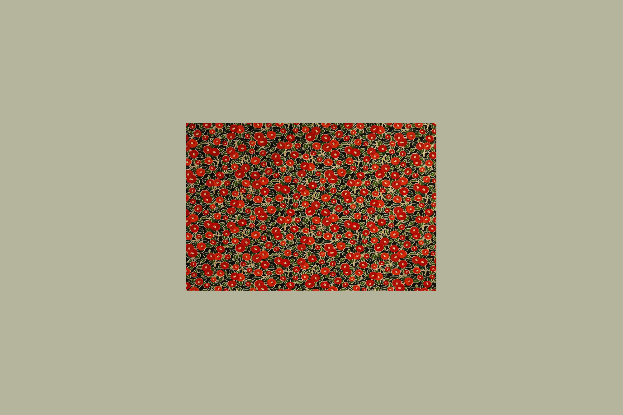 Chiyogami Red Coral Flowers
