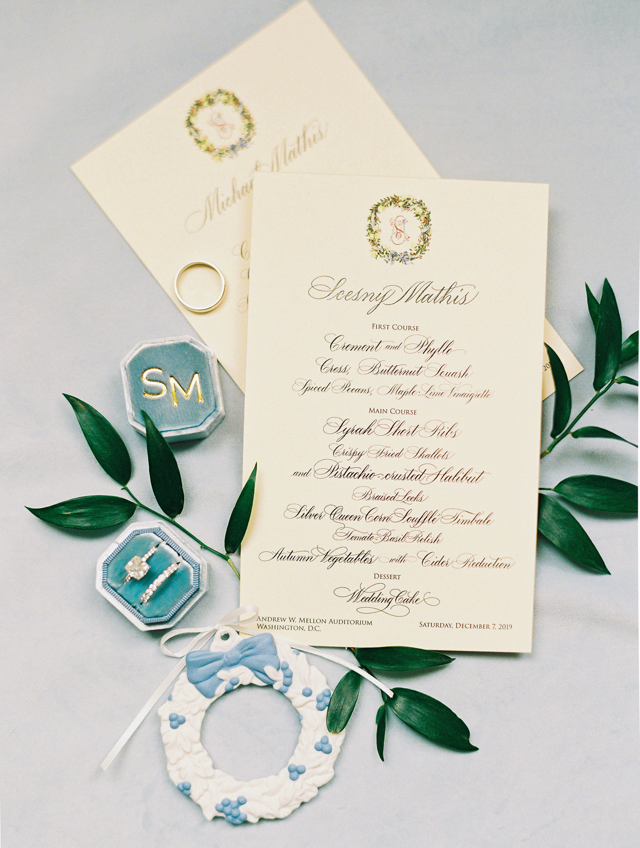 elegant creme colored scripted invites