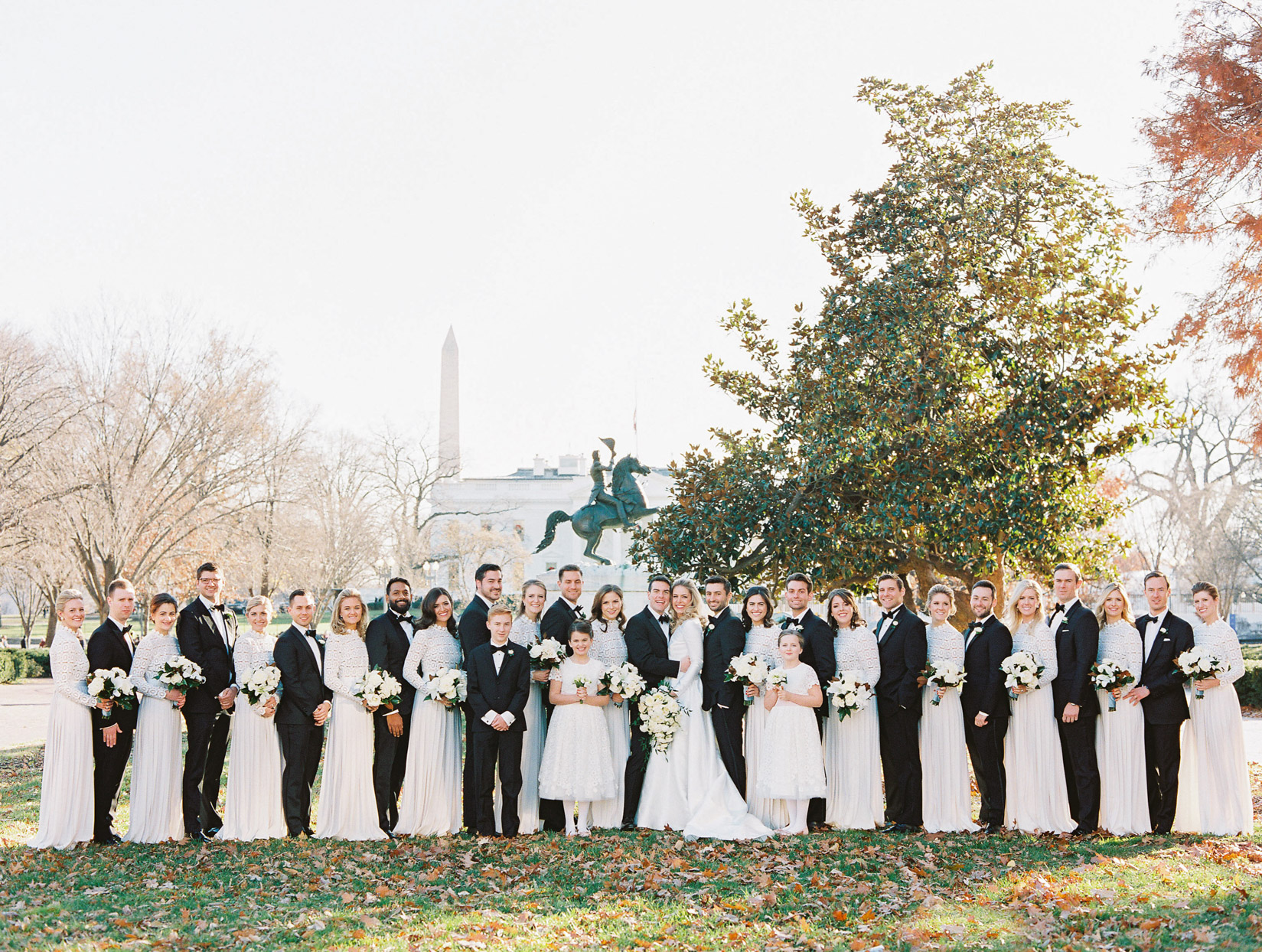 large wedding party photo in front of D.C. architecture