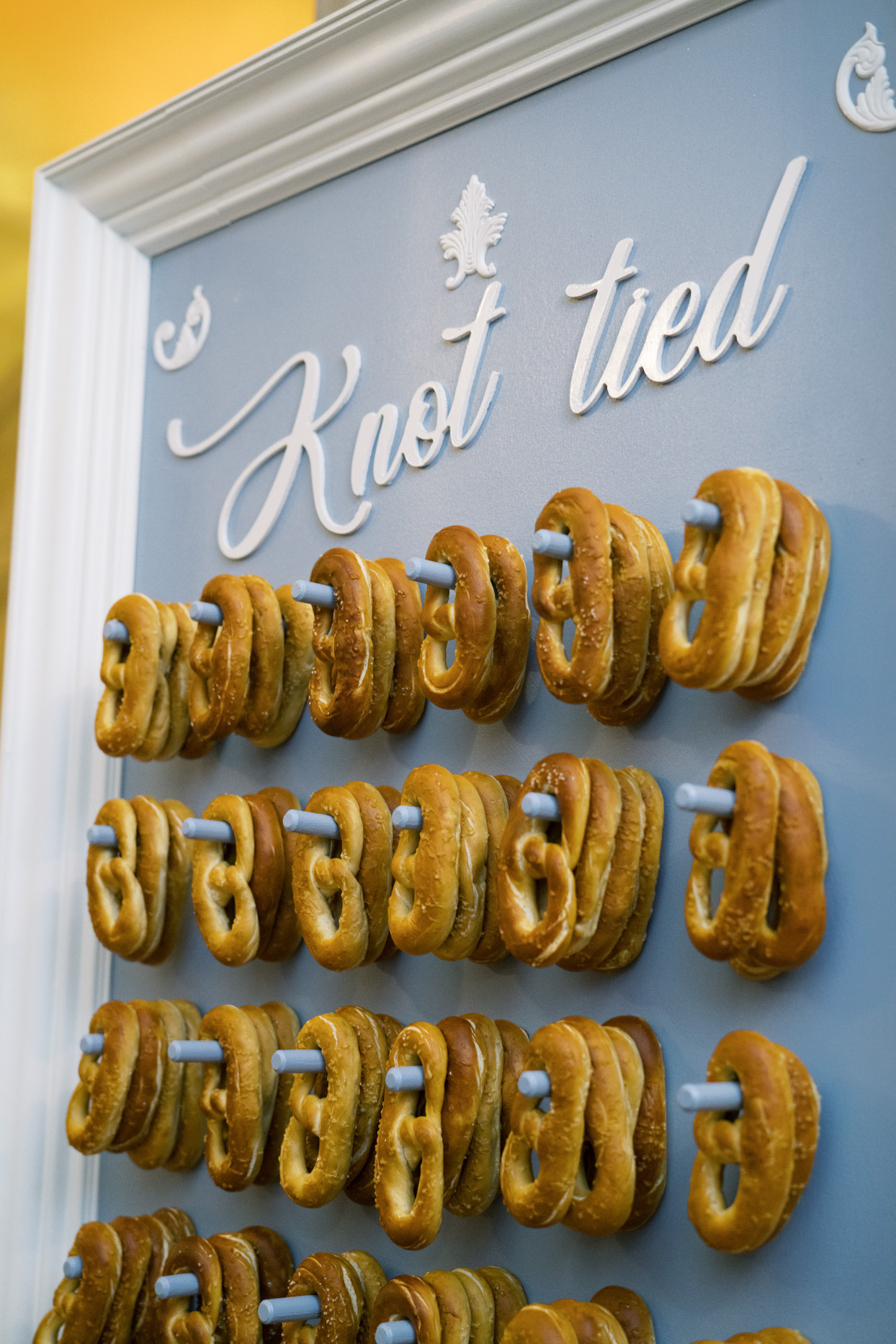 wall of wedding reception soft pretzels