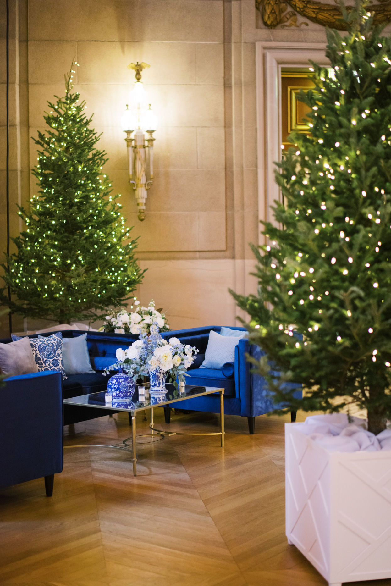elegant reception lounge with royal blue chairs and christmas trees