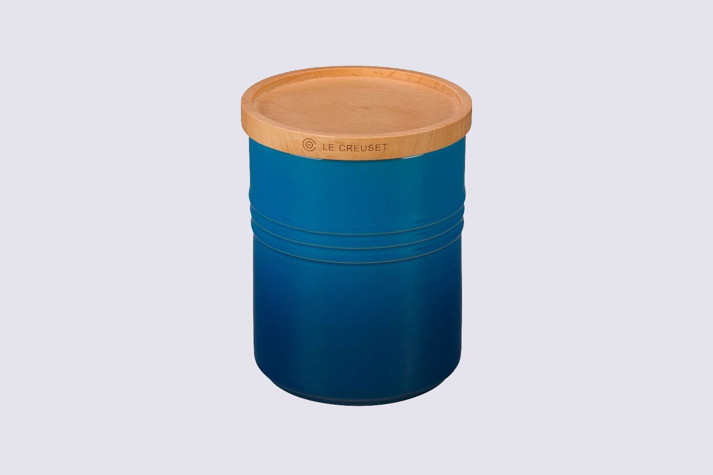 blue le creuset canister