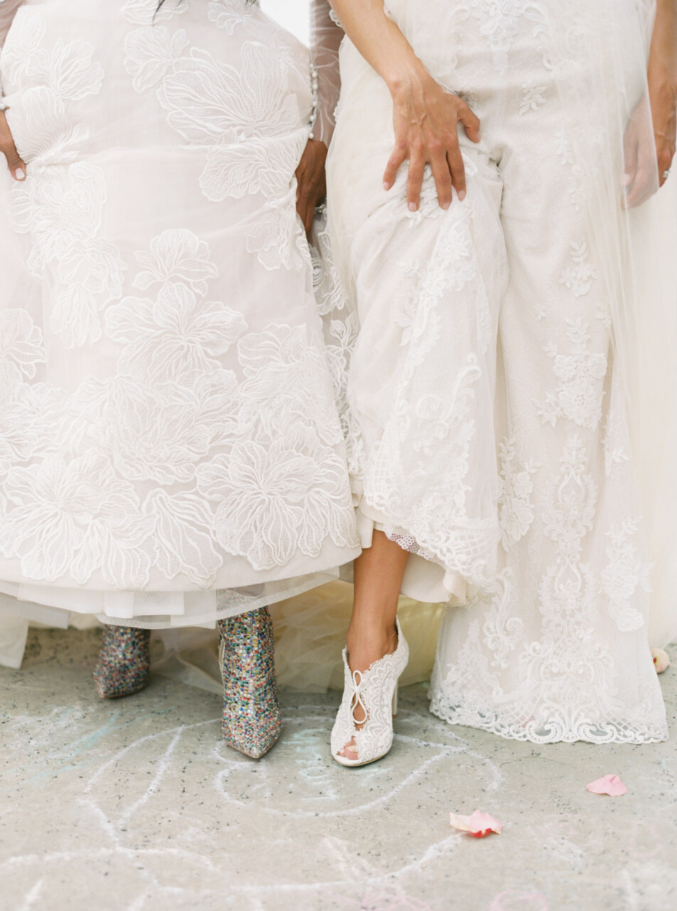brides showing their shoes