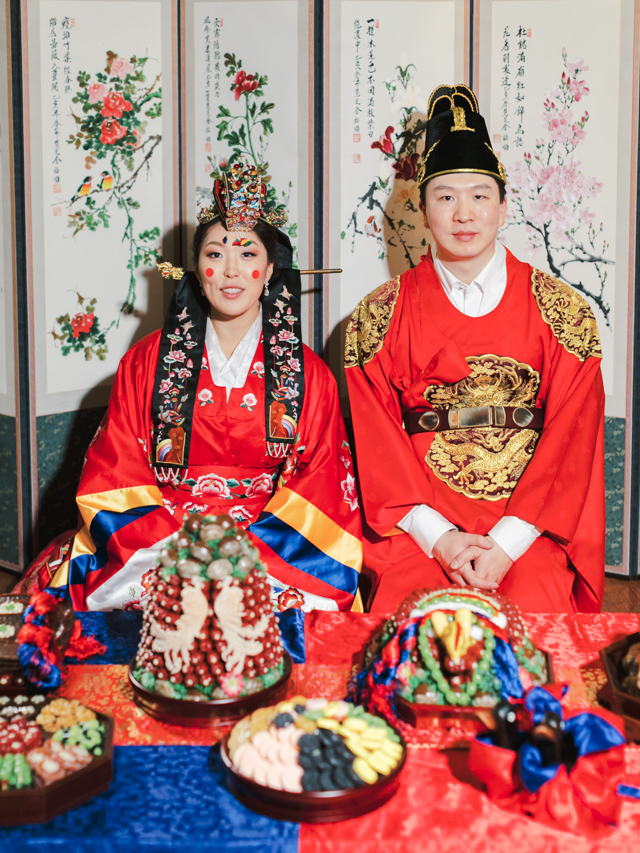 bride and groom during paebaek ceremony