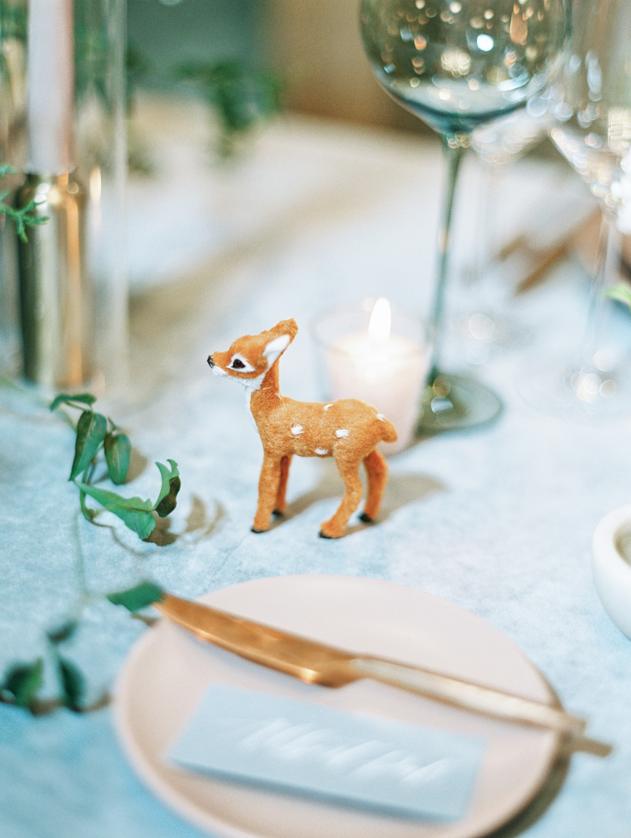 little fawn figurine on reception table
