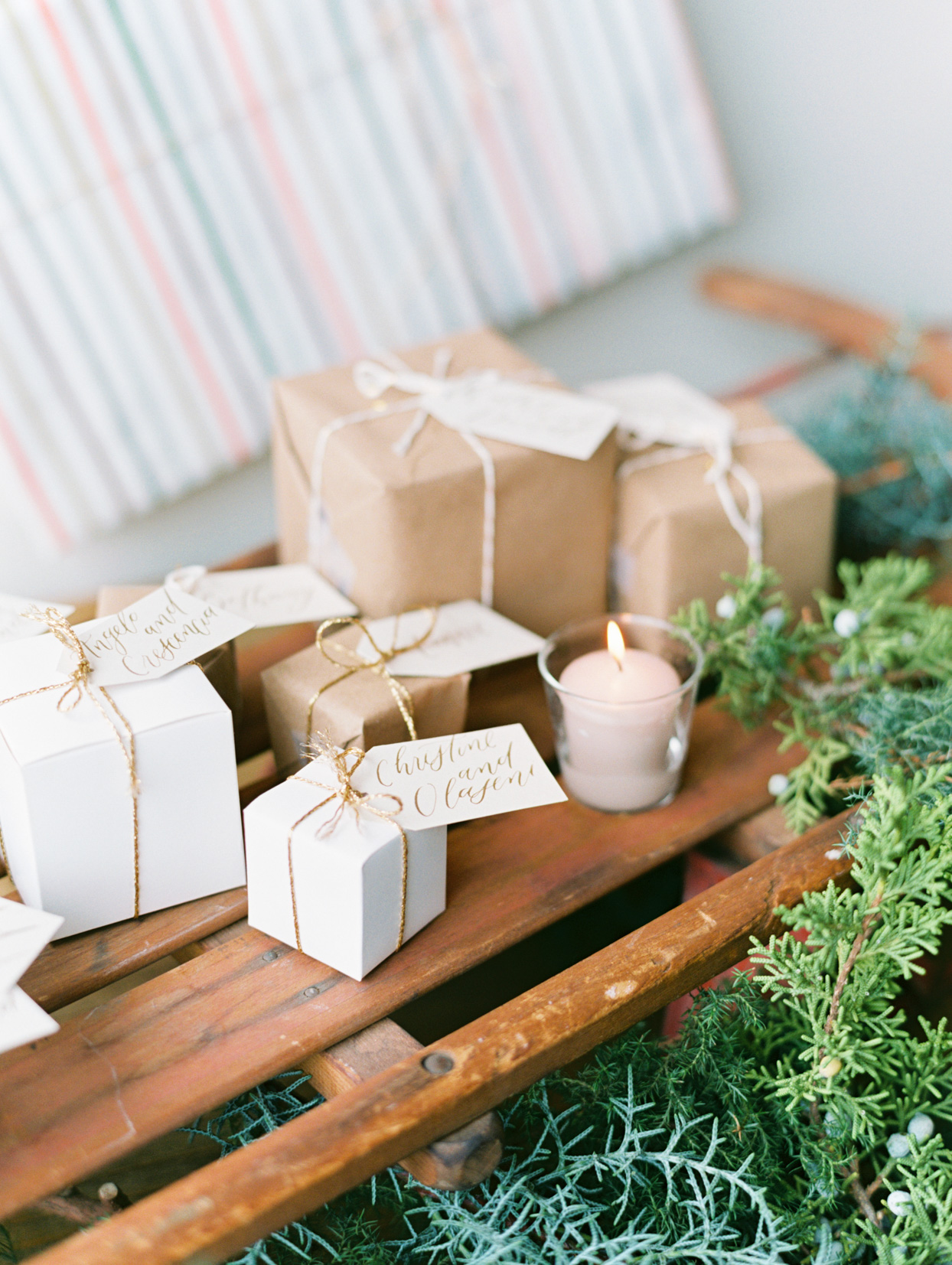 gift wrapped wedding seating chart boxes