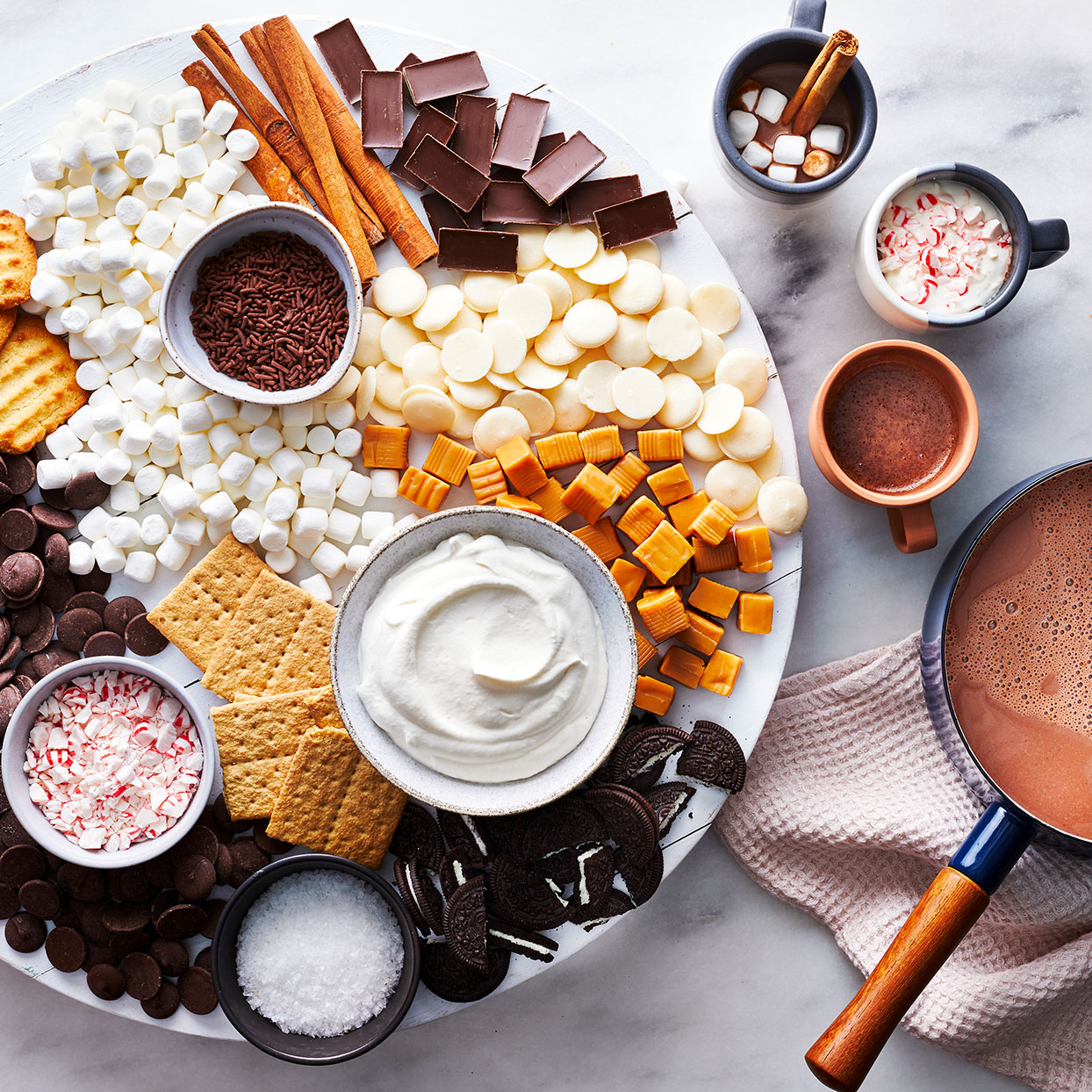 hot cocoa inspired charcuterie board from EatingWell