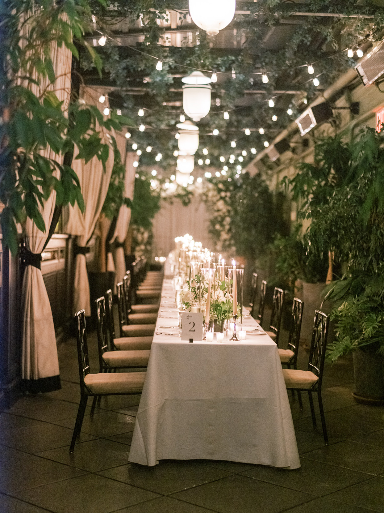 elegant long tables for nyc rooftop reception