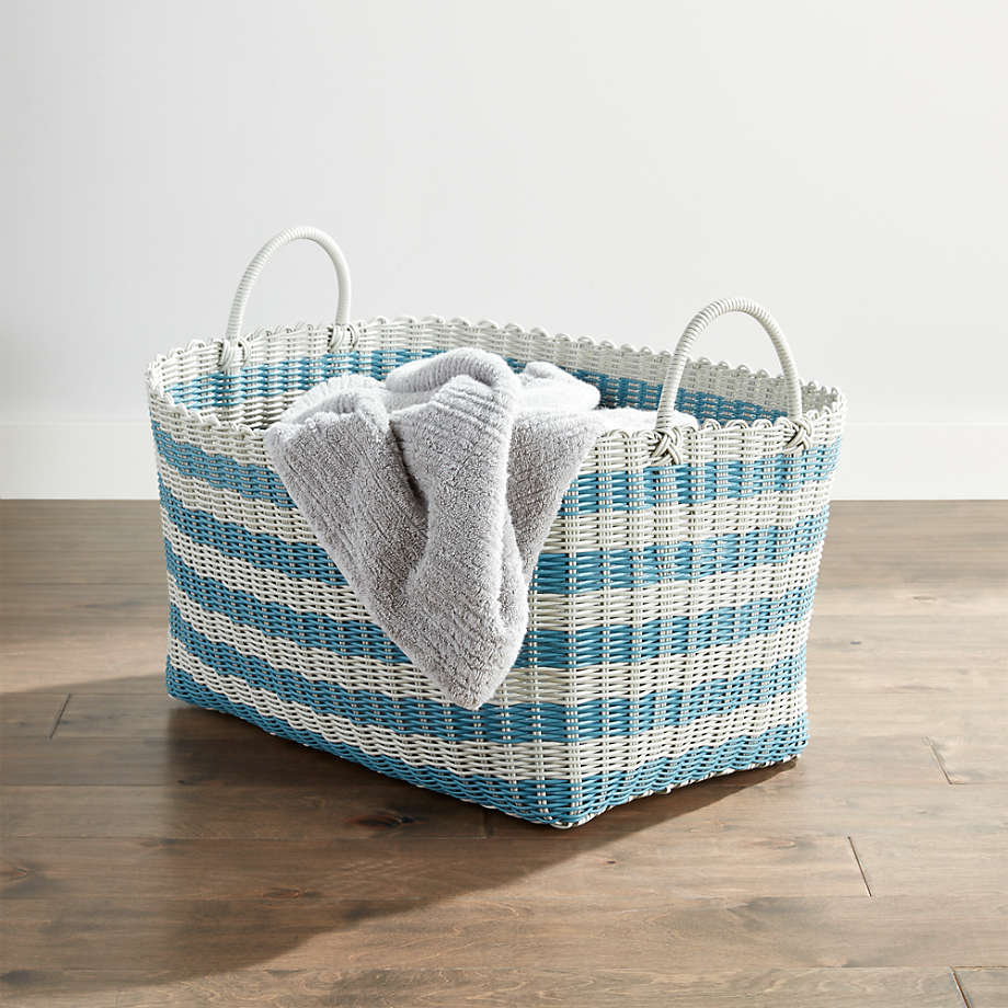 white and blue wire laundry basket