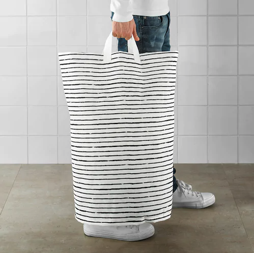 large patterned laundry bag