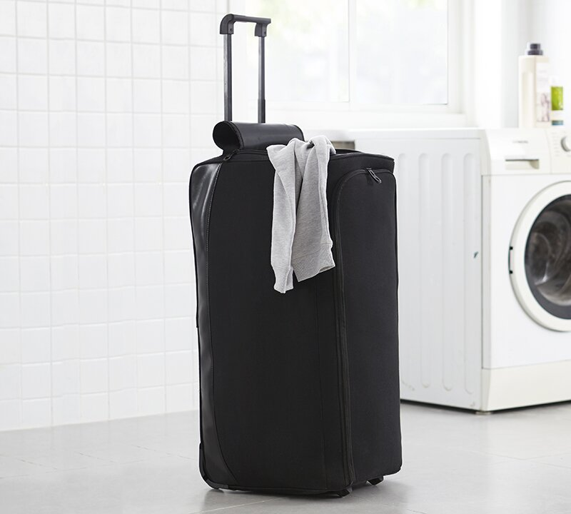 black laundry bag on wheels