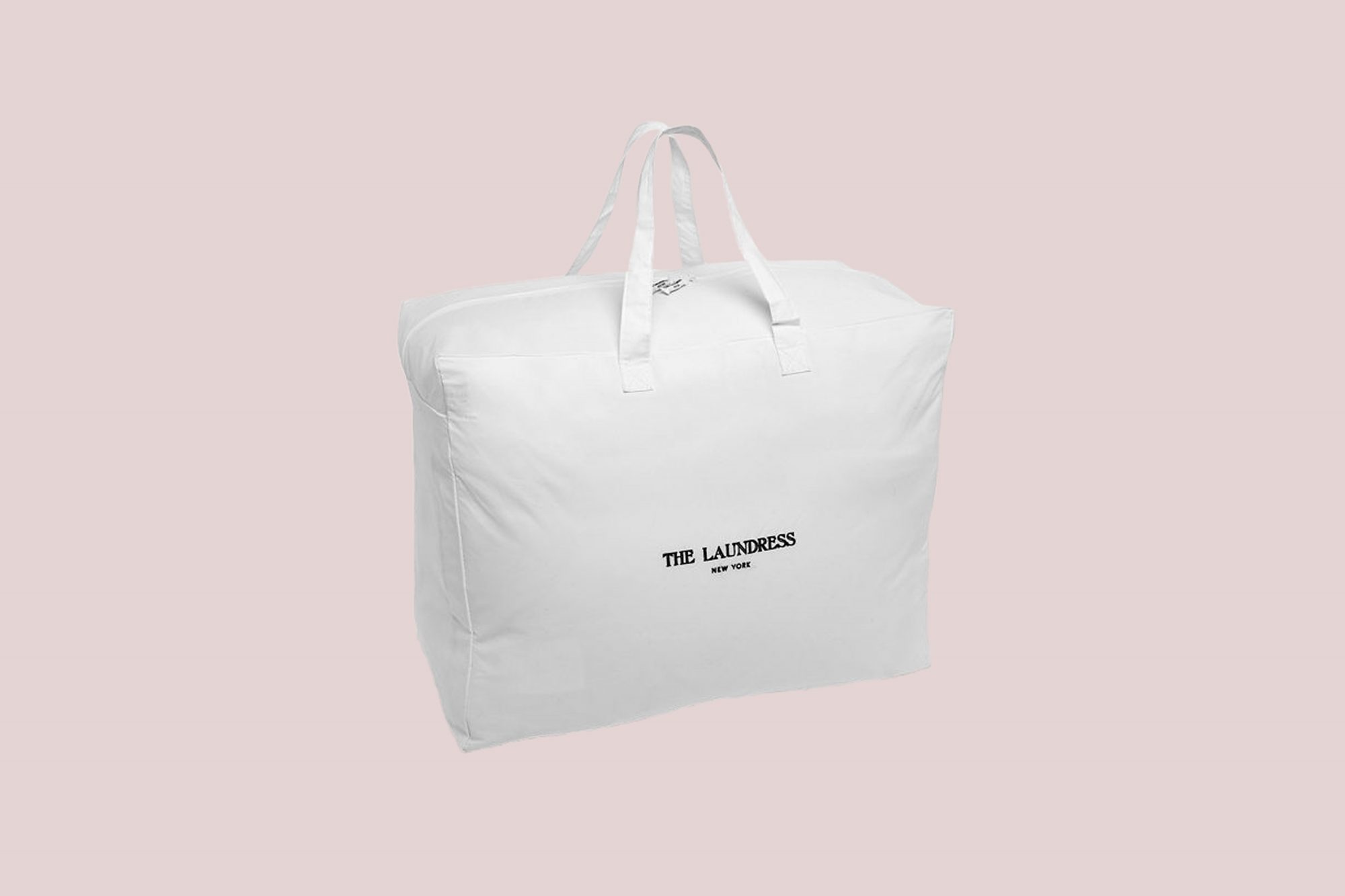white zip laundry bag