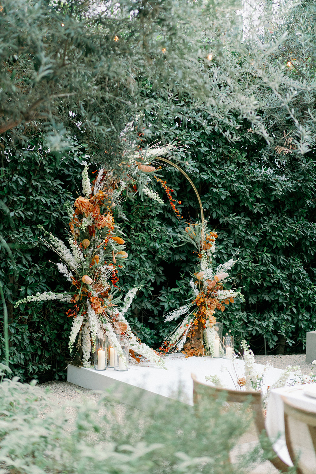 Ikebana-Style Floral arch for wedding ceremony