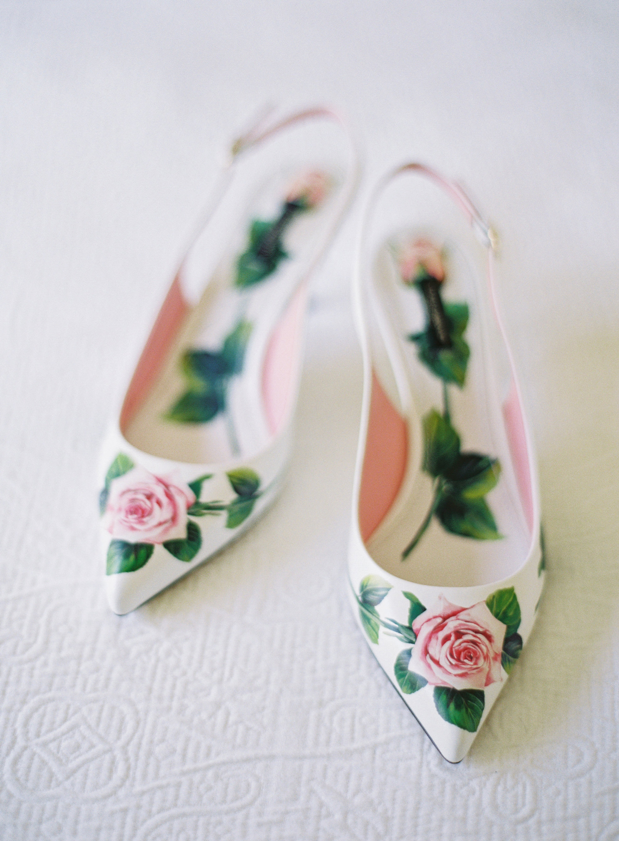 slingback dolce and gabbana pink rose detailed heels